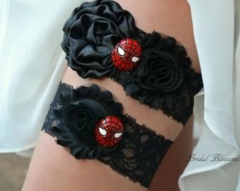 Spiderman Bridal Garter Set | Super Hero Wedding Garters | Flower Stretch Lace Garter | Keepsake Toss Superhero Spider Man Black