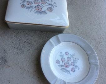 Bone china cigarette box and matching ash tray