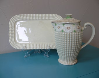 MARUHON WARE Tea Pot and Tray Vintage 1920's to 30's Cream Colored Hobnail and Daisy Pattern, Hand Painted in Japan