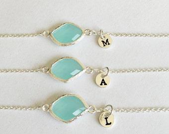 Best friend Bracelet Gift, flower girl Bracelet, Bridesmaids Personalized BirthStones initial Bracelet, birthday, wedding Bracelet jewelry