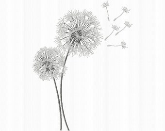 Embroidery of flowers of dandelion for machine embroidery format 4 x 4 and 5 x 7