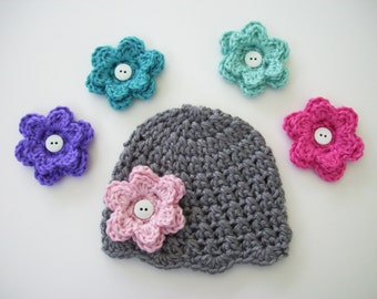 Newborn Baby Hat, Pick 5 Flowers, Toddler Girl Hat, Crochet Baby Hat, Newborn Beanie, Baby Girl Hat, Toddler Beanie, Baby Shower Gift