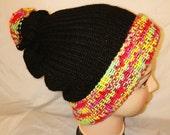 RETRO colour mix Handmade bobble hat double knit extra thick ski snowboard garden one size unisex wool #retro