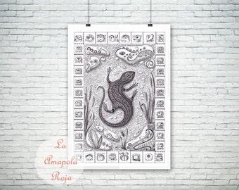 Lizard art print, Mayan calendar, art print unframed, Maya poster, wall art, home decor, lizard illustration, ink lizard, tribal art