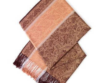 Caramel and brown patterned scarf