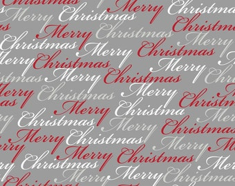 """Pewter Merry Christmas Fabric/""""Christmas Dreams"""" collection  24558 -R"""