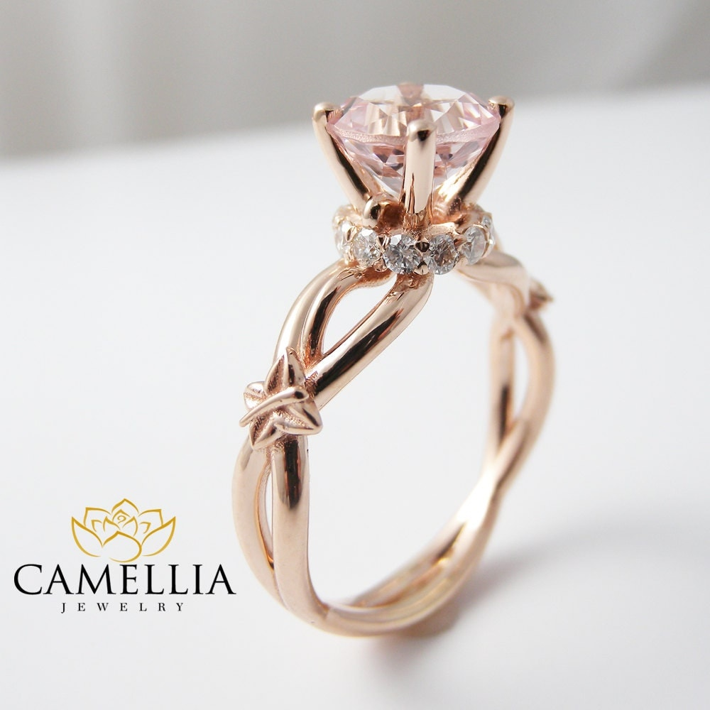 Peach Pink Morganite Engagement Ring 14K Rose by CamelliaJewelry