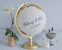 """Guestbook Globe, Painted Globe, World Globe, Custom Color and Quote Guest Well Wishes Wedding Guestbook and/or Home Decor, Hand Painted, 12"""""""