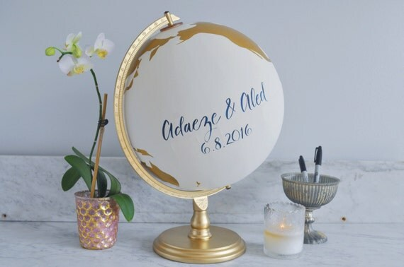 Guestbook Globe, Painted Globe, World Globe, Custom Color and Quote Guest Well Wishes Wedding Guestbook and/or Home Decor, Hand Painted, 12