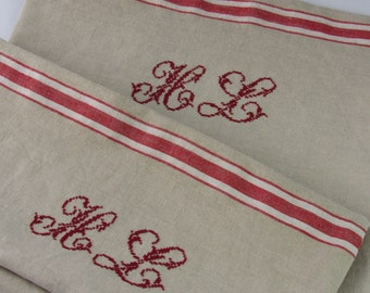 pillowcase made of french vintage linen with hand embroydered monogram in french country style original vintage linen cushion cover