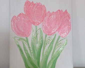 Spring tulips handpaibted canvas