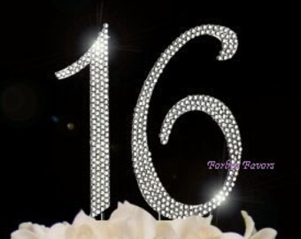 Large Sparkling Silver Rhinestone 16th - 61st  Happy Birthday Cake Topper by Forbes Favors