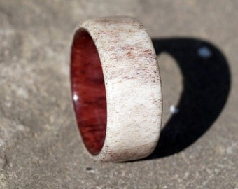 Natural deer antler ring amaranth wood inside