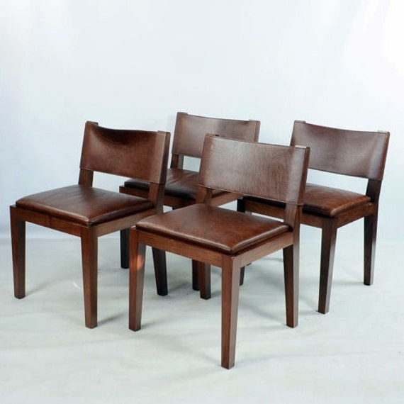hudson furniture nyc set of 4 modern walnut leather side chairs