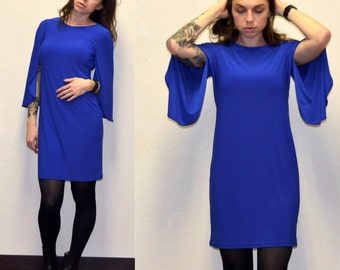 SALE! Royal blue vintage dress 70s style