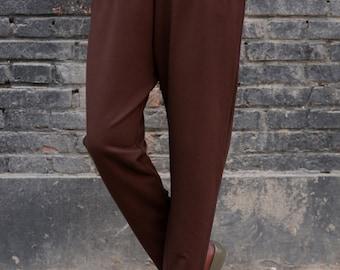 Women Pants Wide Cotton Spring Pants Elastic Waist Pants