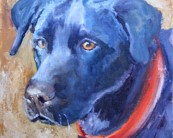 Original Oil Painting, Black Labrador Retriever, Pet Portrait, Dog