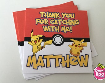 "Pokemon  party, Set of 24 2.5"" x 2.5"" thank you for coming cards or stickers, favor tags, gift enclosures, pokemon, personalized favor tags"