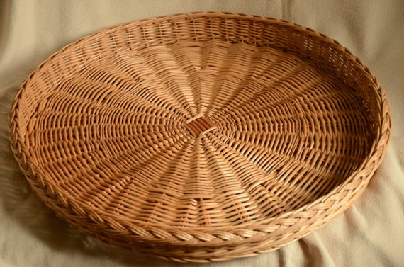 Big 23 Round Wicker Traylarge Rustic Ottoman By Willowsouvenir