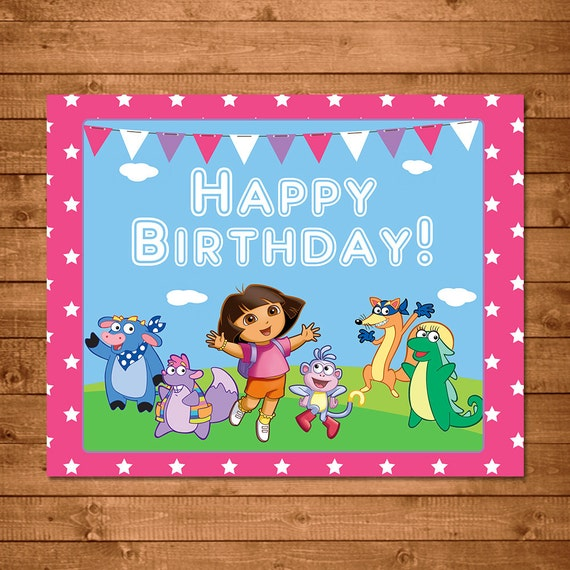 Dora The Explorer Printable Birthday Sign Pink - Dora Birthday Sign -- Dora The Explorer Party Favors -- Dora The Explorer Birthday Banner
