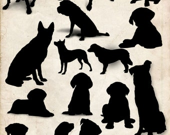 Dogs Silhouette clip art ,17 png Clipart , Instant Download,  clip art