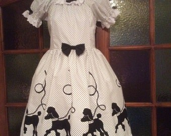 Polka Dot Poodle Lolita One Piece Dress fits 36-38 inch bust