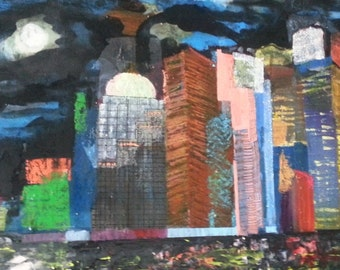 VANCOUVER CITY epoxy and reflect beads cityscape OOAK [free shipping] Suzette Zuch
