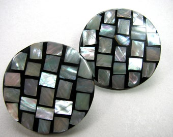 Shell mosaic earrings, 36mm in diameter, post earrings, vintage earrings - 262