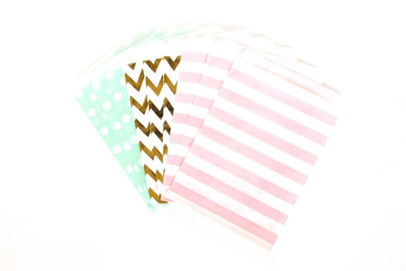 Jamboree Celebration Treat bags in Chevron Dot and Stripe , Pink and Mint Treat Bags, Silver Popcorn Glitter Girls Birthday Paper