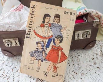 Gorgeous Rare Vintage Butterick Pattern #9050 - Designed in New York - Toddler's Smock and Dress Wardrobe - 1950's - 3/6