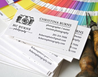 100 Letterpress business cards; letterpress calling cards; custom letterpress business cards; various ink colors