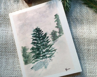 Winter Wonderland Holiday Card, Winter Solstice Card, Seasons Greetings, Original Watercolor Card, Watercolor Christmas Card,