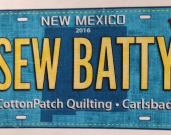 Sew Batty Fabric License Plate