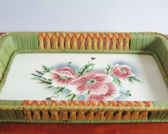 Vintage Ceramic and Rattan Tray