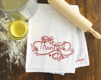 Thankful tea towel, Hostess gift, Hand printed, Flour sack towel, Kitchen towel, Home and gift