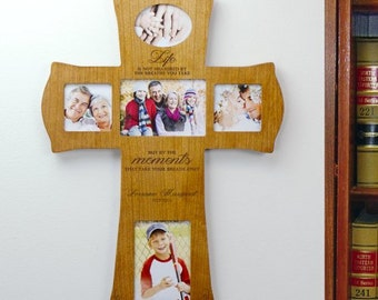 Engraved Wooden Photo Frame Cross- Moments, Personalized Family Frame, Engraved Cross