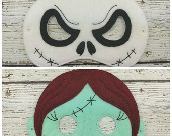 Jack and Sally Children's Felt Mask Set  - Costume - Theater - Dress Up - Halloween - Face Mask - Pretend Play - Party Favor