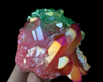 Free Shipping! Three-Color Aura Quartz Crystal Titanium Bismuth Silicon Cluster J475