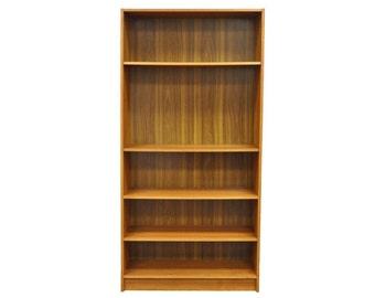 "Vintage 71"" Single Mid Century Danish Modern Jesper Teak Veneer Bookcase Shelf"