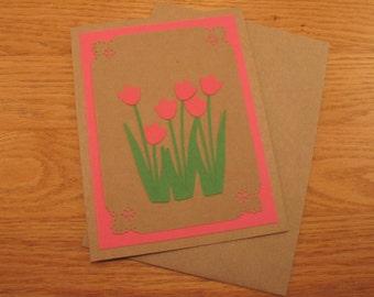 Tulips Notecard, Pink, Kraft Paper, Blank Notecard, Handmade, Tulips, Blank Note, Layered, Bright, Blank Card, All Occasion, Feminine