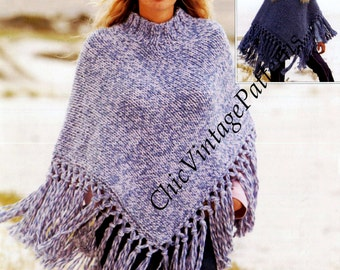 Knitted Poncho ... Ladies and Girls Fringed  Poncho ... PDF Knitting Pattern ... Warm, Stylish Poncho ... Super Useful .. Instant Download