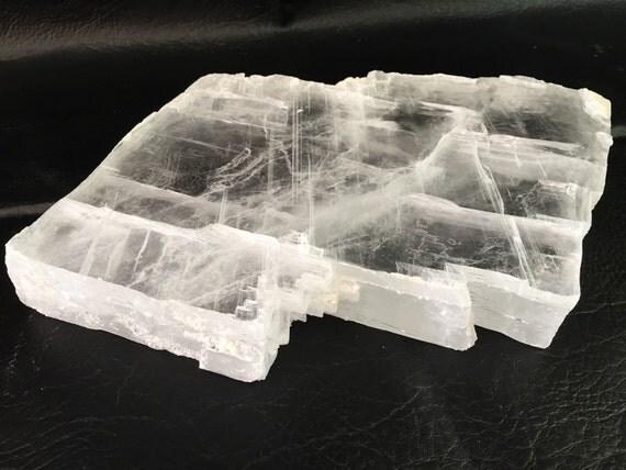 Crystalline Stone Slabs : Lb raw gypsum selenite crystal slab