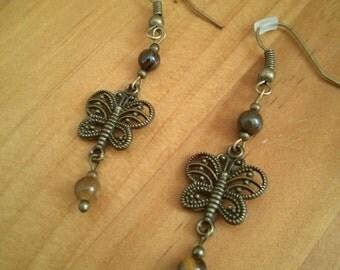 Tiger Eye  and Butterfly Earrings.
