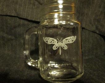 Dragonfly Mason Jar Mug, Perfect Mother's Day Gift Idea