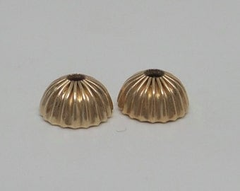 Gold filled corrugated bead caps. 4.14 mm by 7.93 mm. PRICE for 2 BEAD CAPS. Large hole. GFBC03