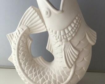 Ceramic Bisque- ready to paint Fish Vase