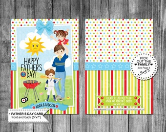 Father's Day Card | Kids | Girls | Boys | Pick The Family Out | 6 Choices | Happy Fathers Day | 5x7 | Printable Card | Customized