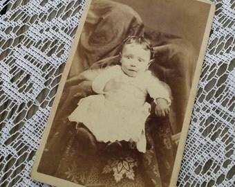Victorian CDV adorable baby girl with hidden mother