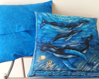 Whale Throw Pillow Cover, 14x14
