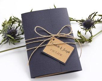 Navy Blue Wedding Invitation, Rustic Wedding Invitation, Twine Wedding Invitation, Wedding Invitation Set, Wedding Invitation Suite